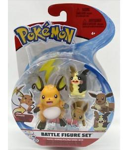 Pokémon Battle Figure Set - Raichu, Morpeko et Evoli