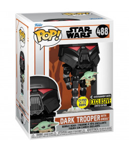 Funko POP! Star Wars n°488 Dark Trooper with Grogu (GITD Entertainment Earth Exclusive)