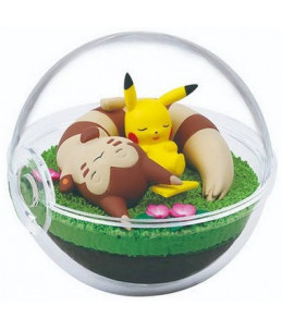 "Re-Ment Pokémon ""Terrarium Collection 8"" Pikachu et Fouinar"